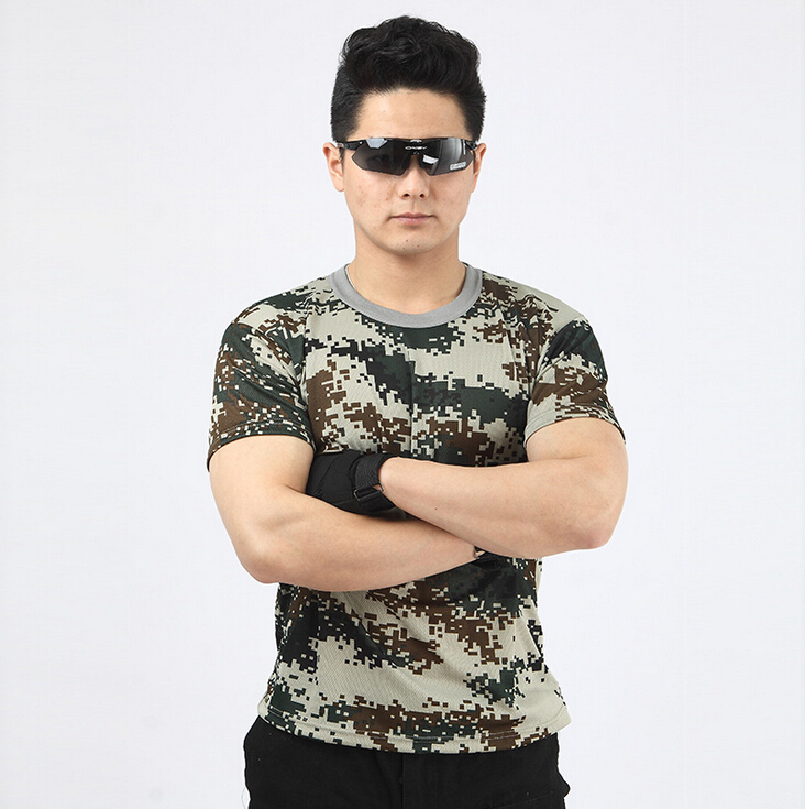 100% Cotton Collarless O-neck Short Sleeves Military Men Woodland Camouflage Custom T Shirt