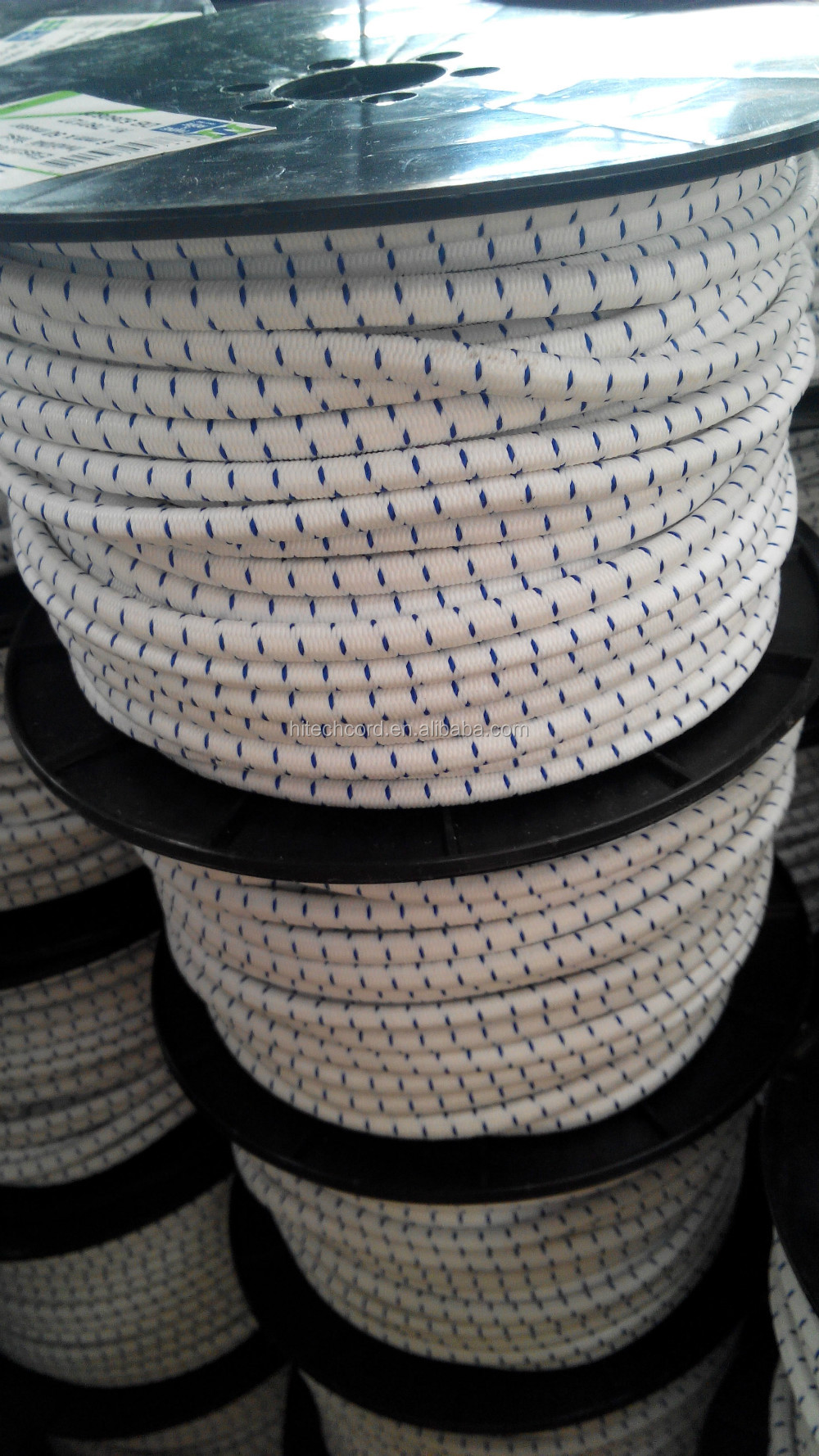 "White with blue 1/4"" Polypropylene  Polyester Elastic Bungee Rope Shock Cord"