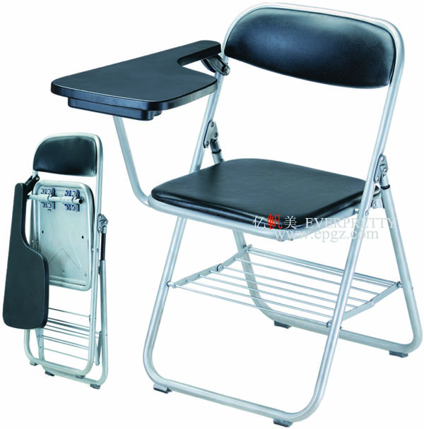 Modern plastic training chair student chair with writing pad used folding chairs with wheels