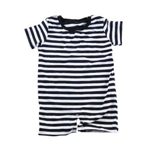 95% cotton polo t shirt baby romper black blank stripe kids clothing baby summer onesie for boys