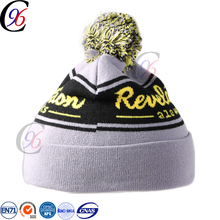 Chengxing new style pom pom beanie knitting pattern custom winter sports classic crochet knitted pattern soft bobble hat