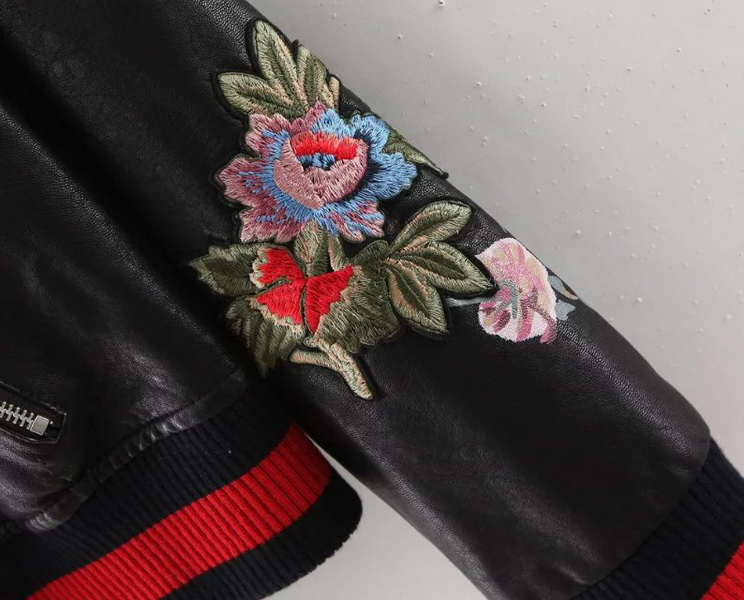 high quality women apparel black Floral Embroidered Jacket,Woman leather jacket