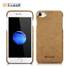 ICARER Real Leather Back Cover Case for iPhone 7 7 Plus