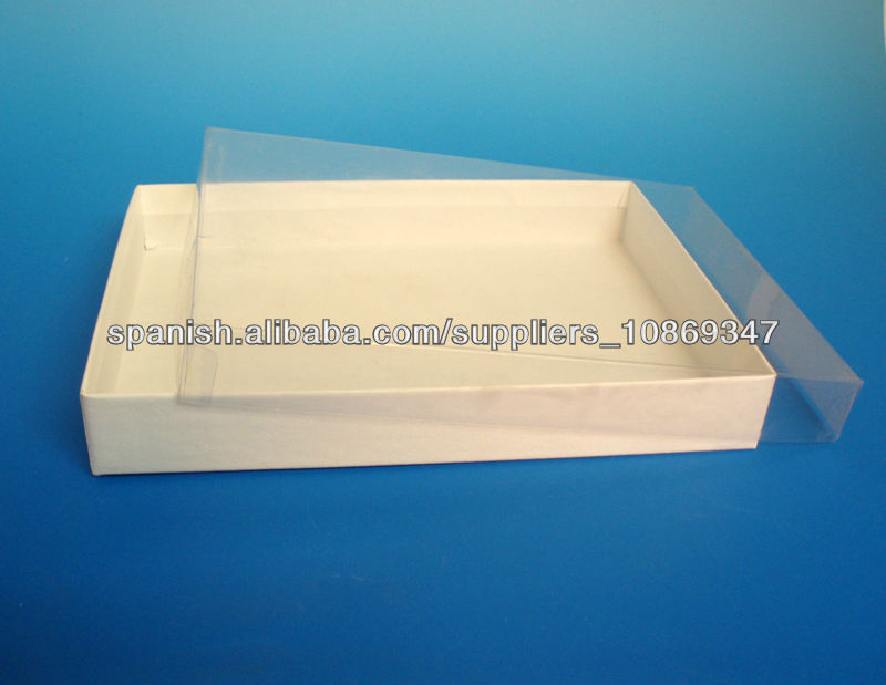Caja de carton con tapa de plastico claro embalaje - Caja plastico con tapa ...
