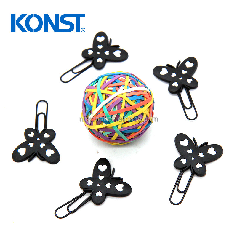 Customized black rubber paper clip butterfly shaped paper clip stationery