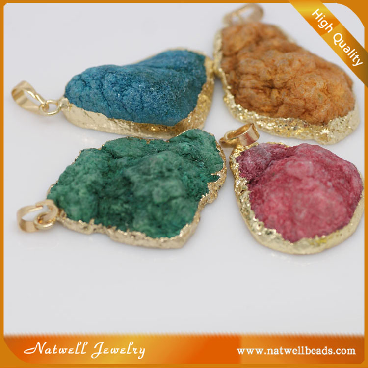 2016 cheap price natural druzy agate slices stone necklace pendant wholesale for souring