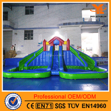 Inflatable Slip Slide and Double Pool for Kids, Giant Inflatable Water slide and Pool for Amusement Park