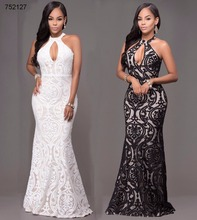 2017 african women clothing 2 color black white sexy halter bodycon maxi dress