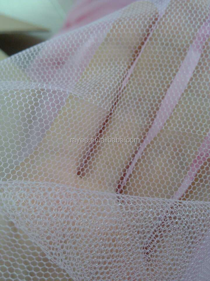 Polyester 50D(30gs) or 75D(35gsm) hard net for Baby Garments , Polyester Hexagonal Mosquito mesh fabric
