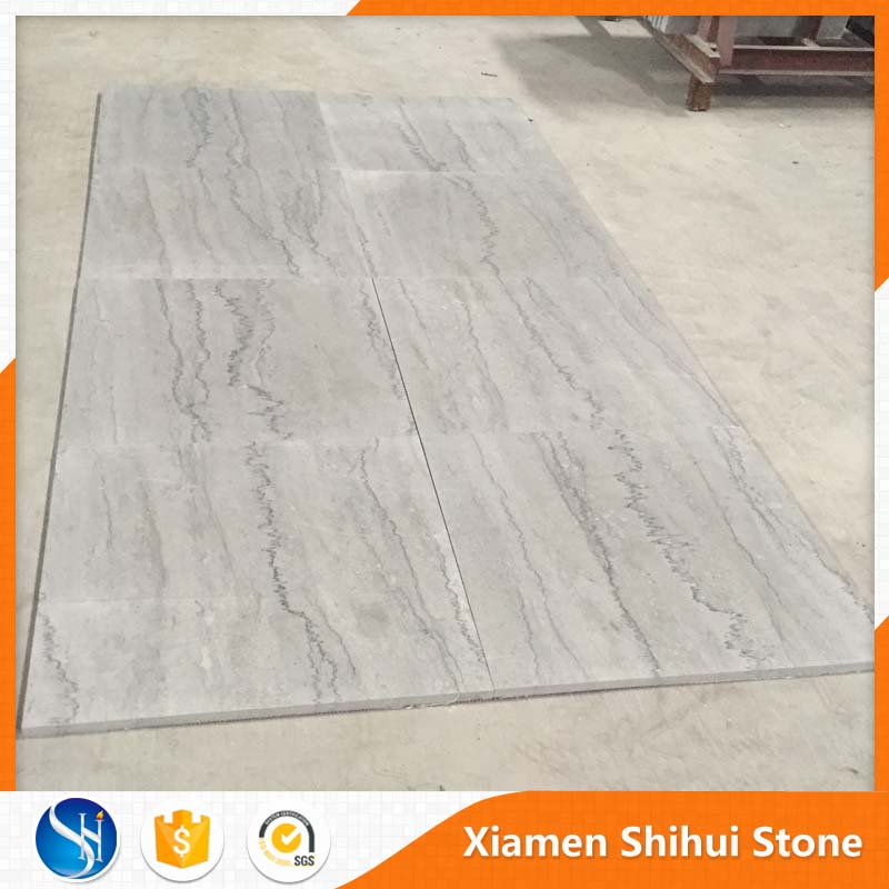 Building Material silvery grey slab water jet white marble tile with black veins