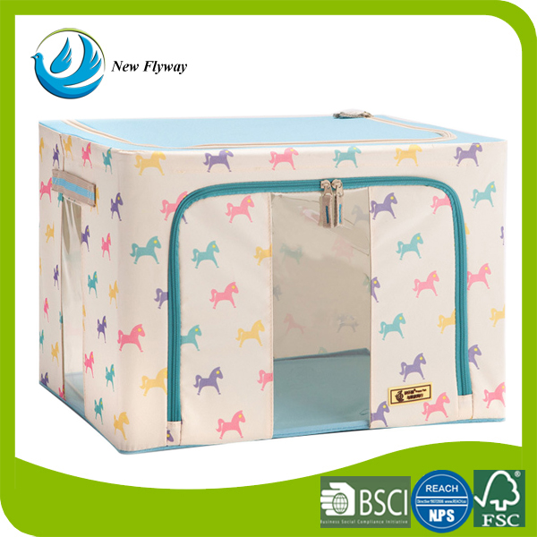 large sundries quilt transparent plastic on side blue and pink color polyester fabric foldable storage box with zipper