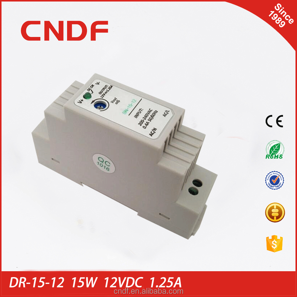 CNDF main production and design din rail power supply 15W 12VDC 1.25A DR-15-12
