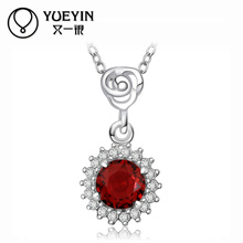 2014 new pendant necklaces women jewelry rose and red zircon design