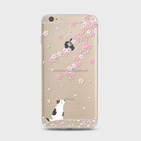 TPU silicone case bog puppy with Sakura phone case TPU cover Soft custom Phone Case For iPhone 6 6S