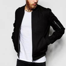 Wholesale Black Custom Bomber Jackets Man Winter Jackets Plain Jackets Wear With Sleeve Zipper