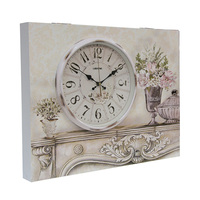 Rectangular oil painting wall clock for electric switch box decoration