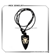 Tribal black Synthetic carved yak Bone pendant Necklace with Adjustable Cotton Cord