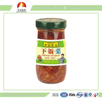 Chinese pickle in bottle , appetizing and healthy food, pickled vegetable with spicy oil