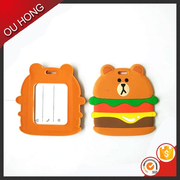 Fancy Animal Bear Designs Custom Made Waterproof Silicon Luggage Tags