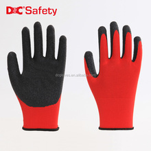 Anti Slip polyester/nylon Fiber crinkle latex coated industrial wholsesale work safety rubber gloves
