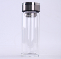 Heat-resistant double layer portable glass cup car water tea bottle with steel filter