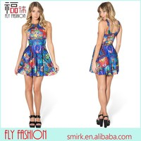 DG941# Wholesale Fashion Cute Oil Painting Style 3D Dress Full Body Printed Sundress