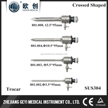 REUSABLE LAPAROSCOPIC SURGICAL INSTRUMENTS CROSSED SHAPED TROCARS 12.5MM,10.5MM,5.5MM,3.5MM
