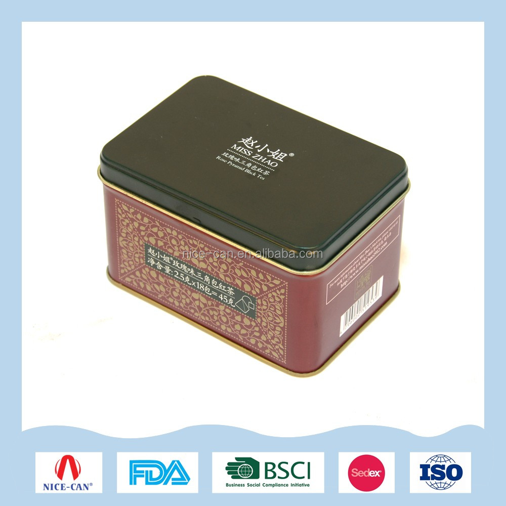 Various cosmetics package tin box with hinged lid