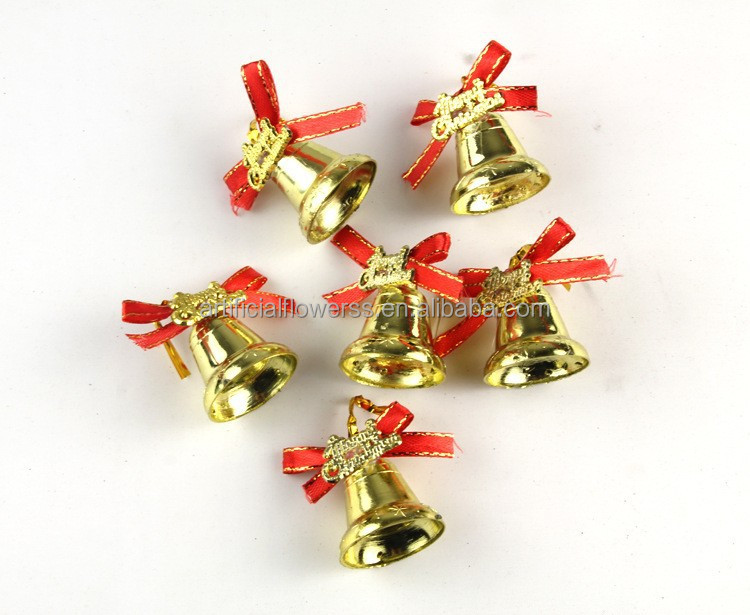 Small decorative gold plastic christmas bells buy small for Small gold christmas ornaments