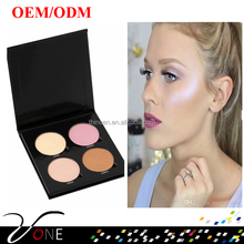 Eigene marke glitter textmarker make-up 4 farben glow kit, strahler make-up mit magnetic karton palette