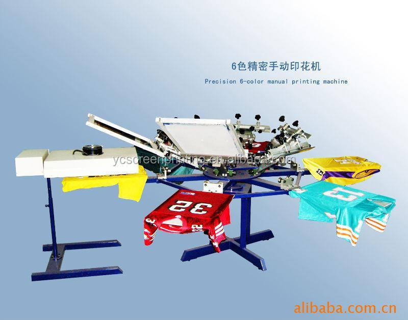6 Color 6 Staions Manual T-shirt Garment Textile Screen Printing Machine Printer for Sale