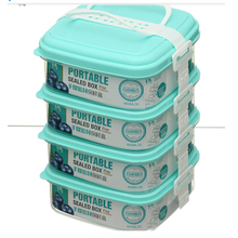 4 Layer DIY Stack Plastic Houseware Snap Close Food Container Set With Handle
