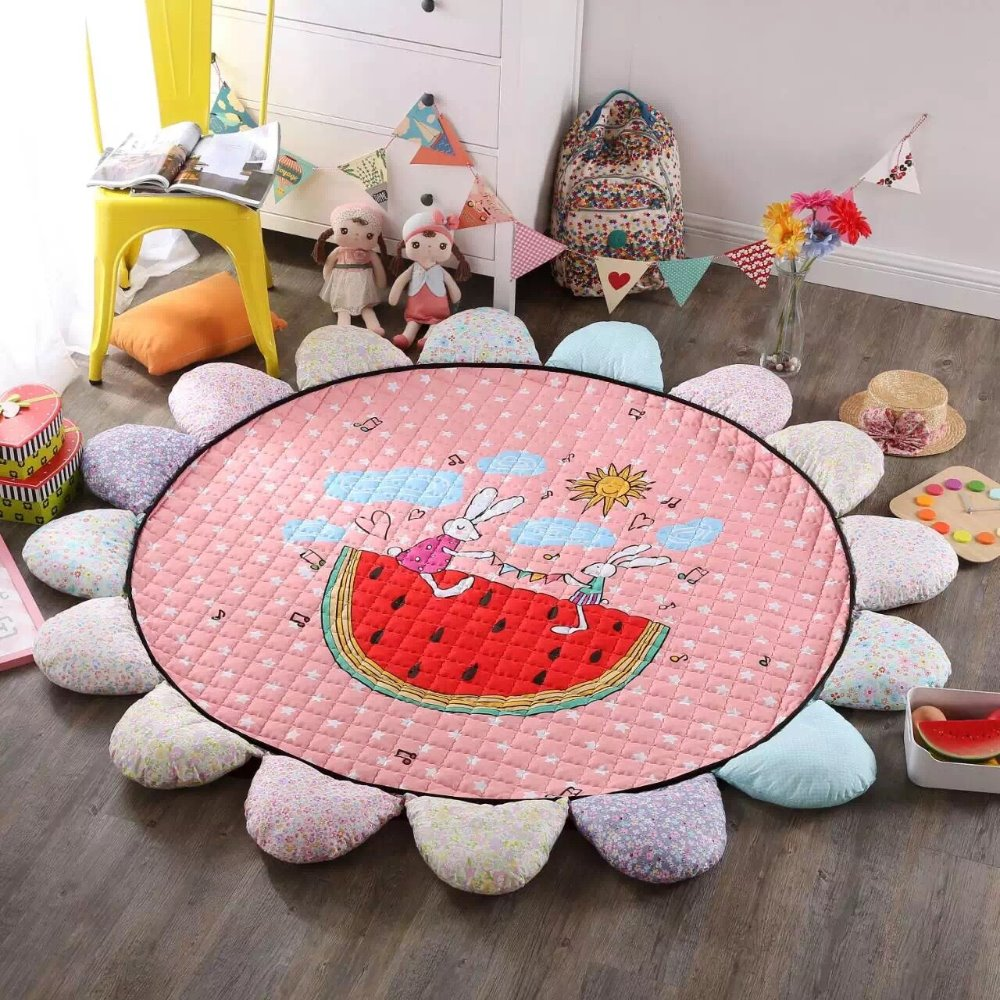 S65598A Room Floor Carpet 100% Cotton Sunflower Shape Cartoon Baby Crawling Blanket