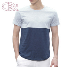 Constract color fabric casual curved hem T shirt for man