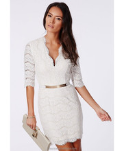 2015 Sexy Fashion White Lace Half Sleeve Latest Casual Dress Designs of Winter
