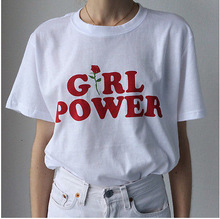 Ebay Best Seller 2018 Women Girl Power Logo Printed Tee Casual Cotton T-Shirts White