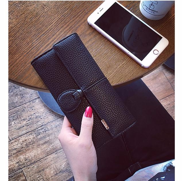 W-032 Fashion Retro hasp long wallet design solid color korean style women wallets
