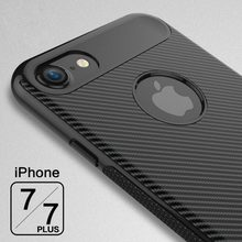 Mobile phone case back cover carbon fiber phone case for iphone 7 7 plus, shockproof tpu case for iphone 7