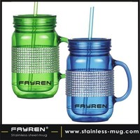 16oz double wall plastic coffee mug plastic mug with a straw
