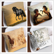 Low Price! Decorative Comfy 3D printed Black Beauty Horse animal 100% polyester throw Square cushion/pillow cover