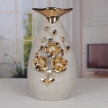muslim indoor decoration ceramic frosted vase with golden flower
