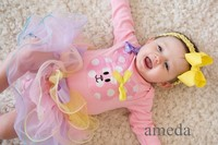 Baby Pastel Petal Tutu with Easter Polka Dots Bunny Light Pink Bodysuit and Yellow Bow Headband