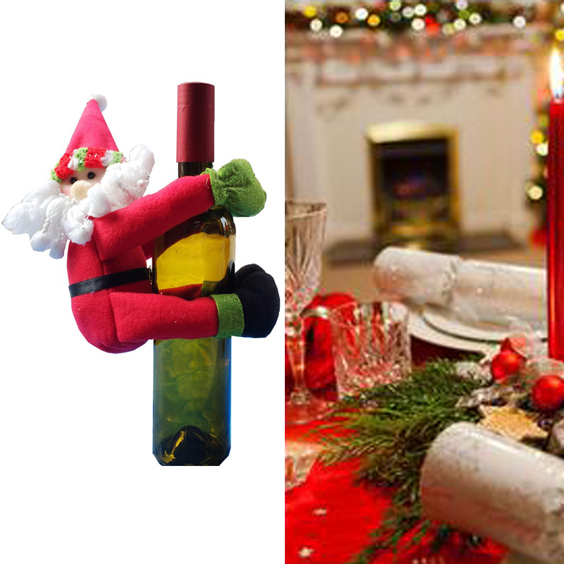 Red Wine Bottle Santa Claus Cover Bag Home <strong>Christmas</strong> Decoration Accessories Lovely <strong>Christmas</strong> Products