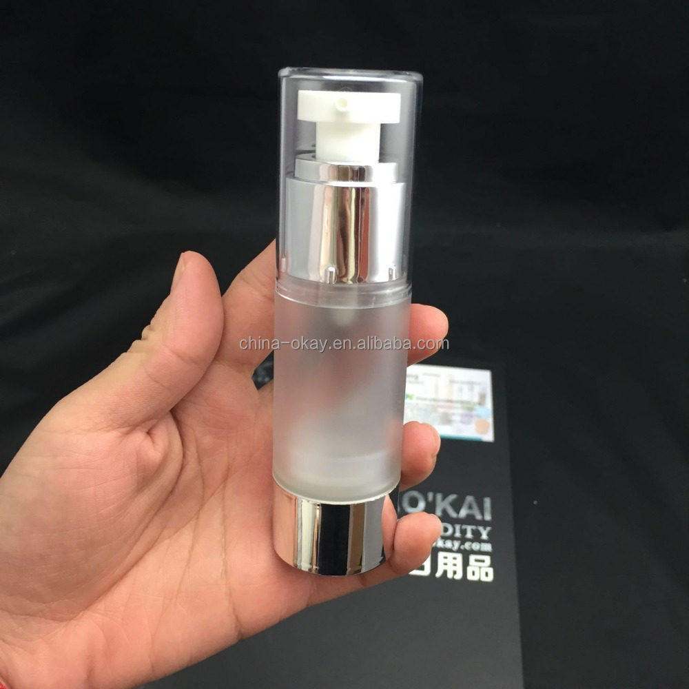Luxurious cosmetic decorative skin care serum bottles / airless silver color bottle with aluminium base