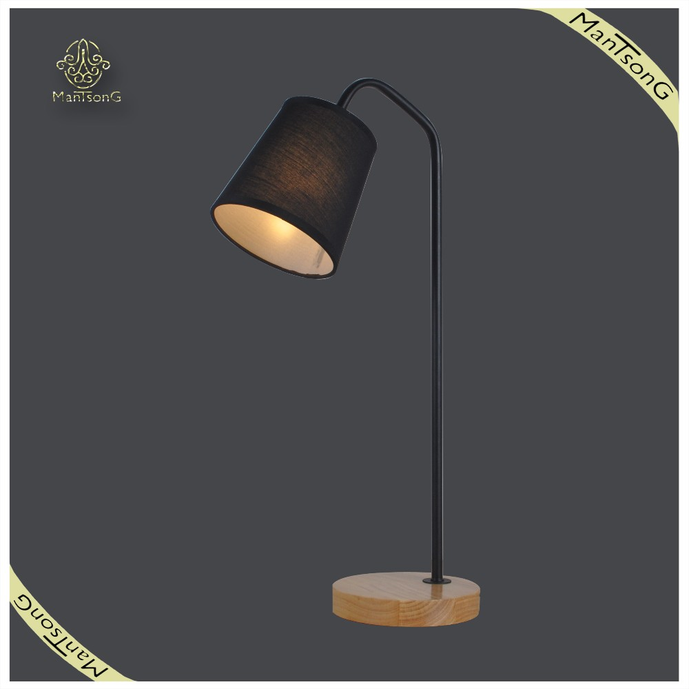 2017 Hot Sale Nordic Style ,Black Fabric Lamp Shades Wooden Table Lamp