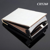New Fashion Card Organizer Manual Open Close Up Card Case Folding Metal Switch Silver Leather Fancy Business Card Holder