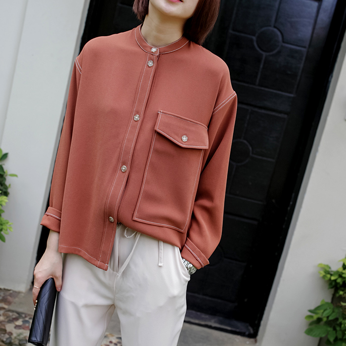Chiffon 2017 latest hot sale collar t shirt stitches outside feminine apparel long sleeve spring fall