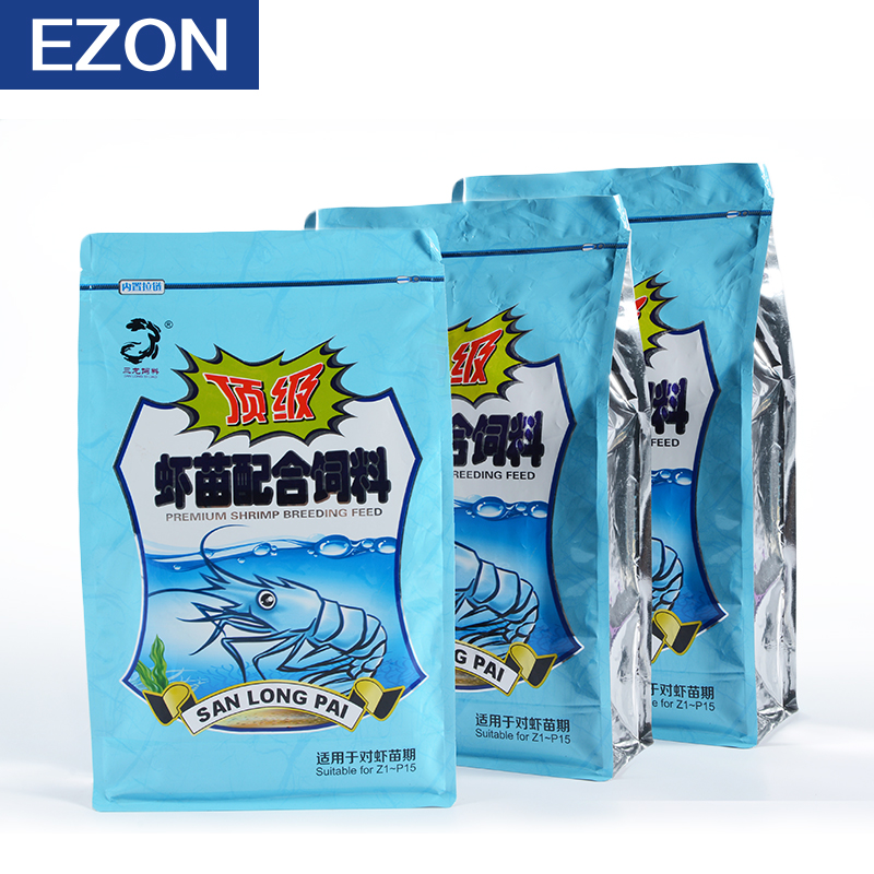 Manufacturers of China flat bottom pouches VMPET fish feed bag with zipper