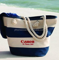 white/blue cotton cavas shopping bag with logo print and white rope string handle