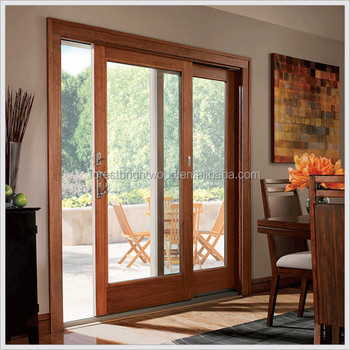 Forest Bright Wooden Glass Patio Doors For Garden